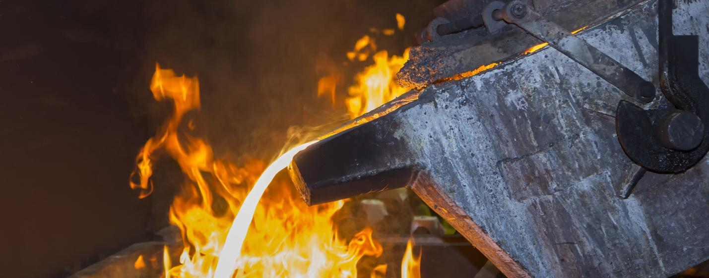 metal pouring in casting line production by ladle